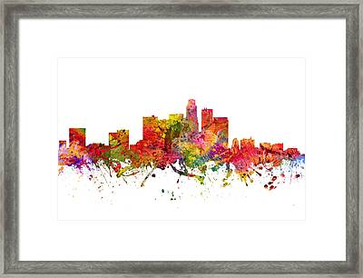 Los Angeles Cityscape 08 Framed Print by Aged Pixel
