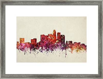 Los Angeles Cityscape 09 Framed Print by Aged Pixel