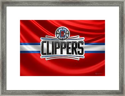 Los Angeles Clippers - 3 D Badge Over Flag Framed Print by Serge Averbukh