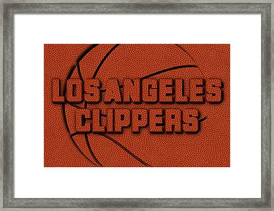 Los Angeles Clippers Leather Art Framed Print by Joe Hamilton