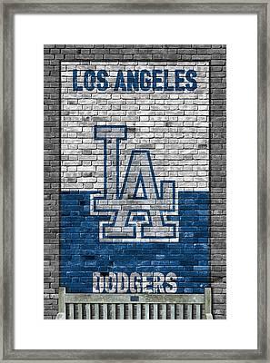 Los Angeles Dodgers Brick Wall Framed Print by Joe Hamilton