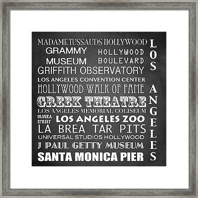 Los Angeles Famous Landmarks Framed Print by Patricia Lintner