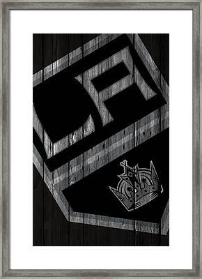 Los Angeles Kings Wood Fence Framed Print by Joe Hamilton
