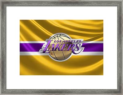 Los Angeles Lakers - 3 D Badge Over Flag Framed Print by Serge Averbukh