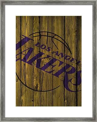 Los Angeles Lakers Wood Fence Framed Print by Joe Hamilton