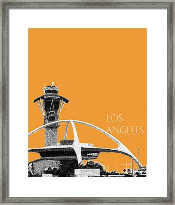 Los Angeles Skyline Lax Spider - Orange Framed Print by DB Artist