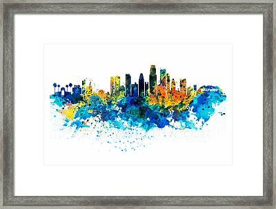 Los Angeles Skyline Framed Print by Marian Voicu