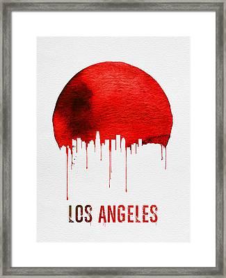Los Angeles Skyline Red Framed Print by Naxart Studio
