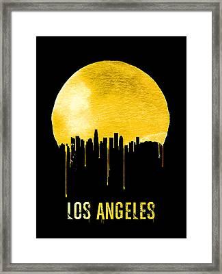Los Angeles Skyline Yellow Framed Print by Naxart Studio