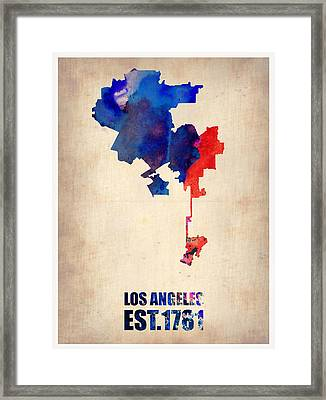 Los Angeles Watercolor Map 1 Framed Print by Naxart Studio