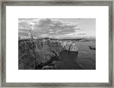 Los Morrillos Lighthouse In Black And White Framed Print by Andres Leon
