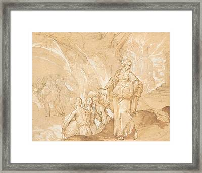 Lot's Wife Looking Back At The Destruction Of Sodom And Gomorrah  Framed Print by Toussaint Dubreuil