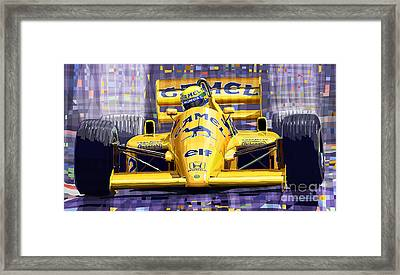 Lotus 99t Spa 1987 Ayrton Senna Framed Print by Yuriy  Shevchuk