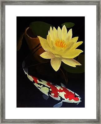 Lotus And Koi- Plant And Animal Painting Framed Print by Glenn Ledford