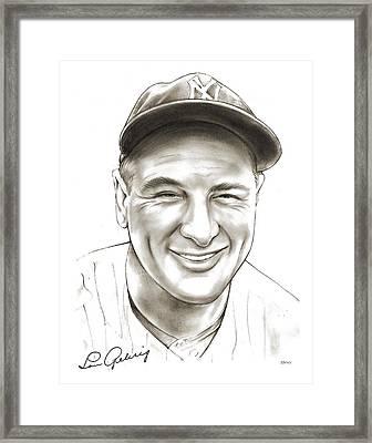Lou Gehrig Framed Print by Greg Joens
