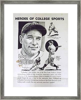 Lou Gehrig Framed Print by Steve Bishop