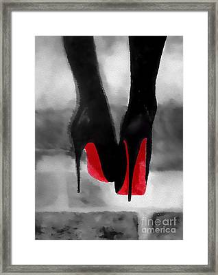 Louboutin At Midnight Black And White Framed Print by Rebecca Jenkins