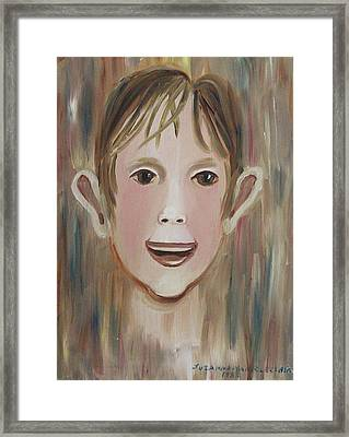 Louis In The Pool Framed Print by Suzanne  Marie Leclair