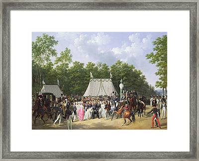 Louis Xviii Greeting The Princess Of Sicily Framed Print by Hippolyte Lecomte