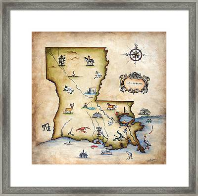 Louisiana Map Framed Print by Judy Merrell