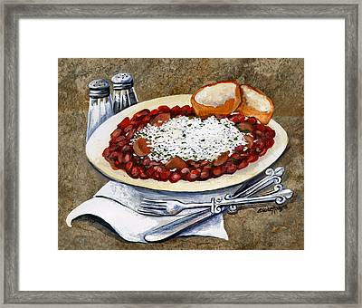 Louisiana Red Beans And Rice Framed Print by Elaine Hodges