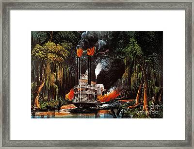 Louisiana: Steamboat, 1865 Framed Print by Granger