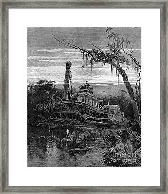 Louisiana: Steamboat Wreck Framed Print by Granger