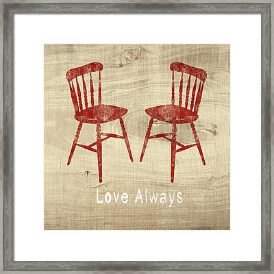 Love Always Red Chairs- Art By Linda Woods Framed Print by Linda Woods