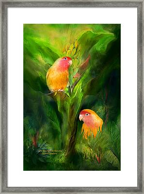 Love Among The Bananas Framed Print by Carol Cavalaris