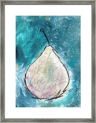 Love And Hope Pear- Art By Linda Woods Framed Print by Linda Woods