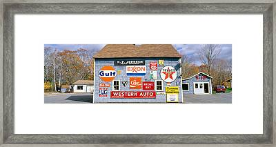Love Barn With Road Signs, Orland, Maine Framed Print by Panoramic Images