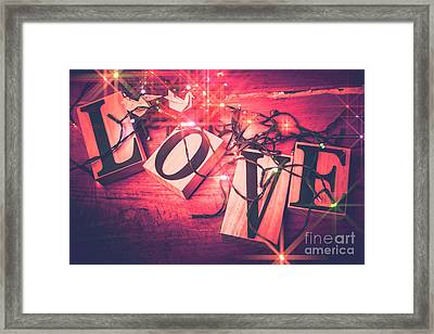 Love Birds And Wooden Sentiments Framed Print by Jorgo Photography - Wall Art Gallery
