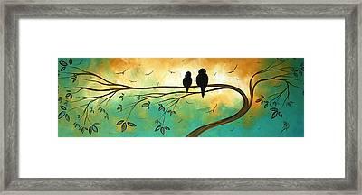 Love Birds By Madart Framed Print by Megan Duncanson