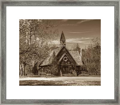 Love Chapel In Sepia Framed Print by Douglas Barnett