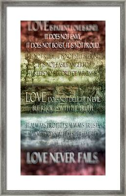 Love Does Not Delight In Evil Framed Print by Angelina Vick