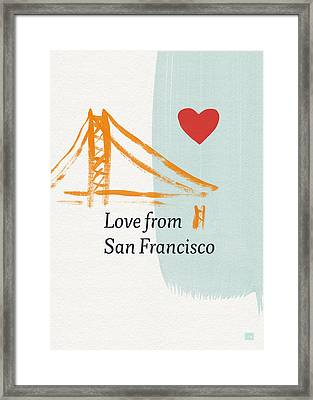 Love From San Francisco- Art By Linda Woods Framed Print by Linda Woods