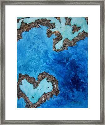Love Heart Reef Framed Print by Georgia  Mansur