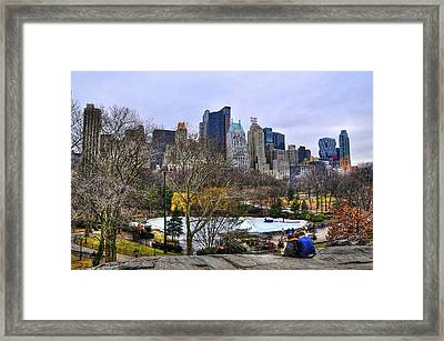 Love In Central Park Too Framed Print by Randy Aveille