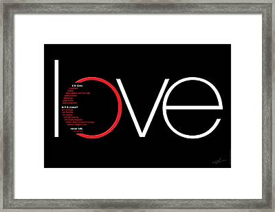Love Is And Does Framed Print by Shevon Johnson