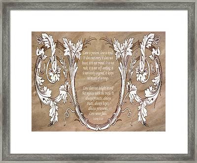 Love Is Patient Framed Print by Angelina Vick