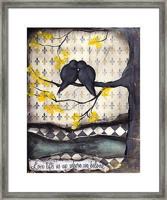 Love Lifts Us Up Where We Belong Framed Print by  Abril Andrade Griffith