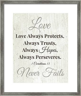 Love Never Fails- Art By Linda Woods Framed Print by Linda Woods