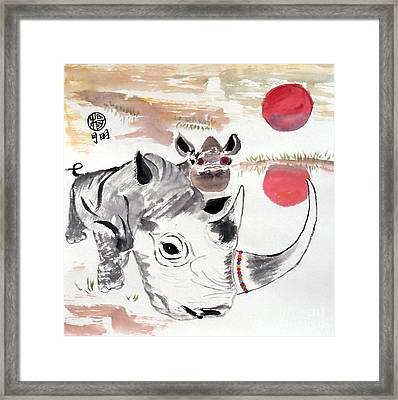 Love Our Rhinos Framed Print by Ming Yeung