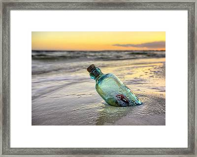Love Is The Message On Pensacola Beach Framed Print by JC Findley