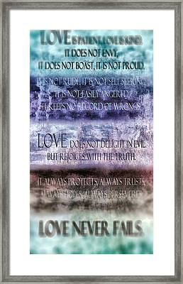 Love Rejoices With The Truth Framed Print by Angelina Vick