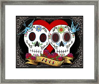 Love Skulls II Framed Print by Tammy Wetzel