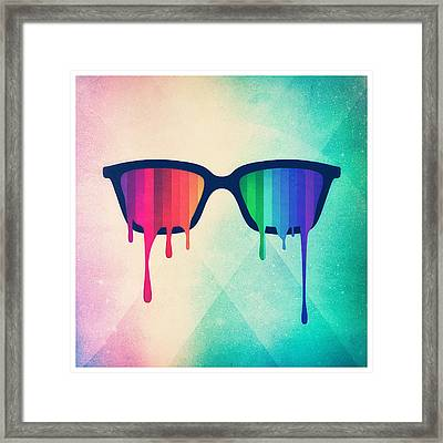 Love Wins Rainbow - Spectrum Pride Hipster Nerd Glasses Framed Print by Philipp Rietz