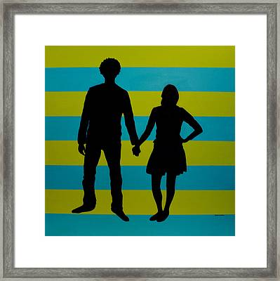 Lovebirds In Silhouette Framed Print by Ramey Guerra