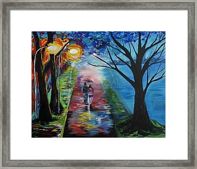 Lovely Stroll By The Lake Framed Print by Leslie Allen