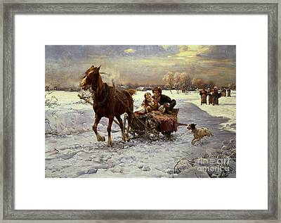 Lovers In A Sleigh Framed Print by Alfred von Wierusz Kowalski
